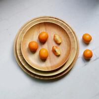 Oak Wooden Round Plates Fruit Cake Tea Coffee Dessert Dish Food Serving Tray M