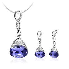 High Quality 2Pcs Natural Purple Amethyst Gemstone Silver Pendant Earrings Set