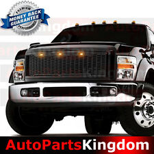 08-10 Ford Super Duty Raptor Gloss Black Front Mesh Grille+Shell+Amber LED Light