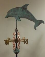 Dolphin Antiqued 3D Majestic, Copper weathervane, As Shown.No Roof Mount.