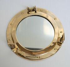 "12"" Antique Brass Porthole Nautical Maritime Ship Boat Wall Mirror Home Decor"