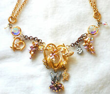 KIRKS FOLLY Vintage Necklace Ornate AB Rhinestone Hummingbird Butterfly #1015