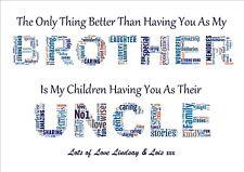 Word Art Print BEST BROTHER UNCLE keepsake personalised gift Birthday Day Thank