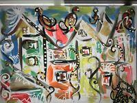 ORIGINAL Malerei A4 PAINTING abstract abstrakt contemporary art city stadt bild