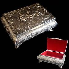 EXQUISITE Queen Anne Embossed Antique Vintage Style Silver Jewellery Trinket Box