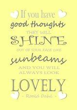 christmas gift idea Roald Dahl sunshine inspirational quote print book lovers