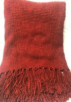 POTTERY BARN DARK RED THROW BLANKET AFGHAN W FRINGE GREAT CONDITION CLASSIC