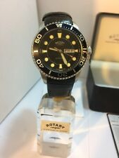 Rotary Men's Chronospeed Diver Date & Day Black Leather Strap Watch GS03425/04