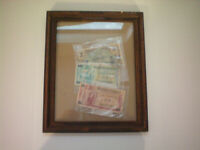 Vintage Military Payment and Currency 5 Yen 10 Cent 5 Cent Framed