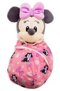 """Disney Parks Minnie Mouse Babies Bow Blanket Pouch Baby 10"""" Plush Doll - NEW"""