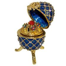Kremlin Oeuf-boîte à musique émail bleu perlé orné strass Kremlin Oeuf Faberge