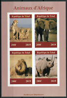 Chad 2019 MNH African Wild Animals Elephants Lions Rhinos 4v IMPF M/S Stamps