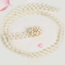 ivory pearl belt crystal rhinestone round bling adorned stretchable chain S