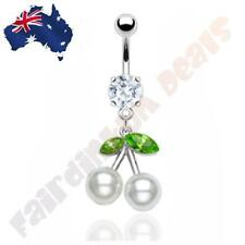 316L Surgical Steel Jewelled Belly Ring with White Pearl Cherry Dangle