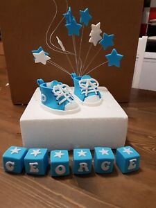 Converse Style Edible Baby Shoe Cake Topper Decorations