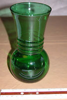 """6-1/2"""" High Vintage Green Clear Art Deco Type Glass Vase"""
