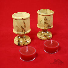 Pair of Bethlehem Genuine Olive Wood Tealight/Votive Candle Holders 8 cm