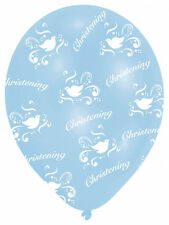 6 Blue Christening Balloons Helium  / Air BOYS dove Christening Party Decoration