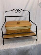 Vintage Longaberger Wrought Iron Utility Basket Stand and Vanity Basket w/ Lid