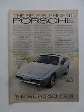 1978 Print Ad Porsche 924 Sports Car Automobile ~ Self-Sufficient