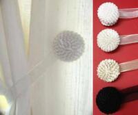 2 MAGNETIC TIEBACKS VOILE & NET CURTAINS White Black Ivory Cream FREE 1ST POST