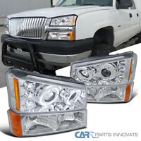 Fit Chevy 03-07 Silverado Avalanche Clear Halo Projector Headlights+Bumper Lamps