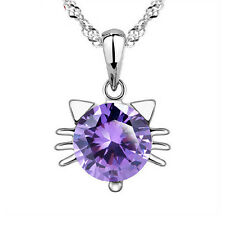 SALE Silver Plated 925 Cat Kitten Purple Crystal Droplet Pendant Necklace. 1457