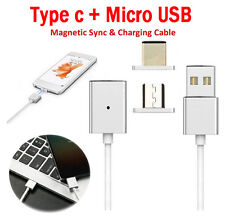 Magnetic Tips Type-C&Micro Charge Data Sync Cable For Huawei P9 LG G5 Samsung S7