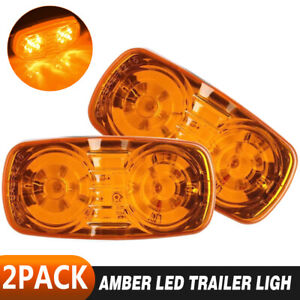 2PCS 12 LED Trailer Side Marker Clear Indicator Lights Car Truck Lens Lamp Amber