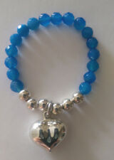 Bue Agate Bead Bracelet With  Sterling Silver Puff heart
