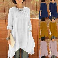 ZANZEA Women Oversized Pleated Asymmetrical Shirt Loose Casual Long Tops Blouse