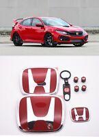 RACING SET Red H Emblem Front Rear Steering Fit 2016-20 HONDA CIVIC HATCHBACK