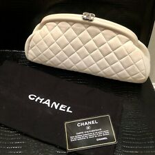 CHANEL Frame Clutch Ivory White Timeless Quilted Leather Classic CC Logo Pouch