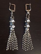 NEW AUTHENTIC Liquid Metal Sergio Gutierrez Crystal Tassel Silver Earrings RTE1