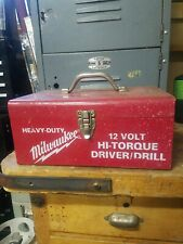 Vintage Milwaukee Heavy Duty 12 Volt Hi-Torque Driver Drill In Vintage Metal Box
