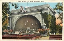 Rochester Minnesota~City Park Band Stand~Men on Stage~Empty Benches~1920s PC