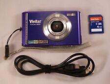 Vivitar ViviCam 8225 8.0 Mp Digital Camera Purple w 4Gb Sd Card Cable Tested