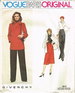 Vtg 80s Vogue Paris Original Givenchy Pattern 1517 Suit Jacket Pants Skirt 12