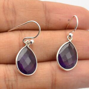 Amethyst Gemstone Handmade Jewelry 925 Sterling Silver Dangle Earrings For Girls