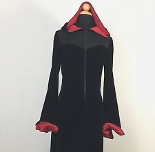 Black Velvet Long Hooded Dress Robe Size XL Stretch Medieval Gothic Wicca LARP