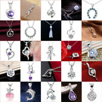 Women Fashion 925 Silver Filled Crystal Heart Pendant Necklace Chain Jewelry
