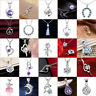925 Sterling Silver Crystal Sapphire Charms Heart Drop Pendant For Necklace Gift