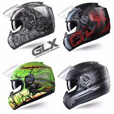 GLX DOT Motorcycle Full Face Helmet Street Bike Dual Visor + Free Mirrored Visor