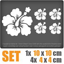 Hibiskus Blütenset SET-10 cm JDM Decal Sticker Auto Car Weiß Scheibenaufkleber