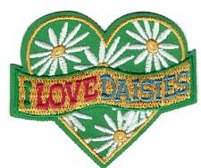 Girl I LOVE DAISIES FUN daisy heart Fun Patches Crests Badges SCOUTS GUIDE green