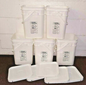 lot of 5 food grade 4 gallon square buckets w/ lids PP5~IPL~handle~stackable