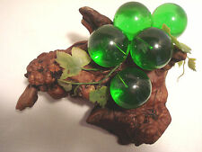Vintage.Cluster Of Green Acrylic large Grapes.On Burl Wood