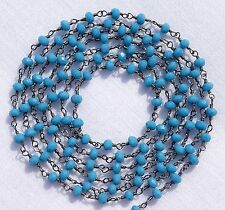 5 Feet Beautiful Turquoise Chalcedony Black Plated Faceted Vermeil Rosary Chain.