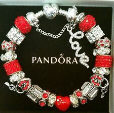 Authentic PANDORA HEART CLASP Sterling Silver CHARM Bracelet European Beads #38