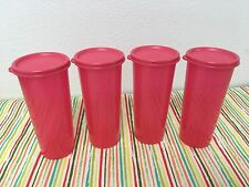Tupperware Tumblers Set of 4 Stacking Tumblers Coral / Red 16oz New